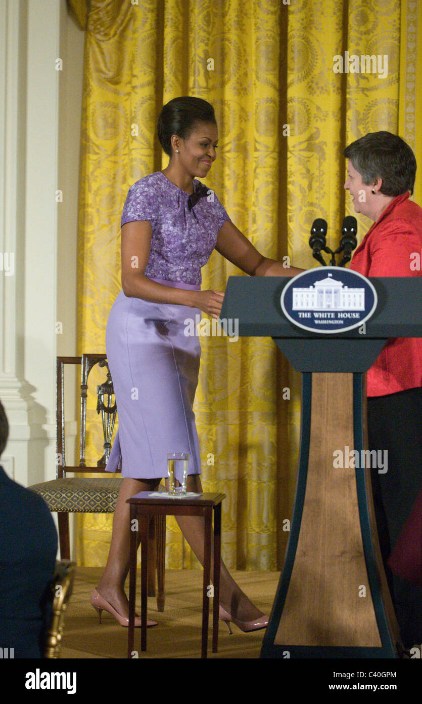 First lady michelle obama greets secretary of homeland security first lady michelle obama greets secretary of homeland security janet a napolitano in the east room of the white house she and m4hsunfo