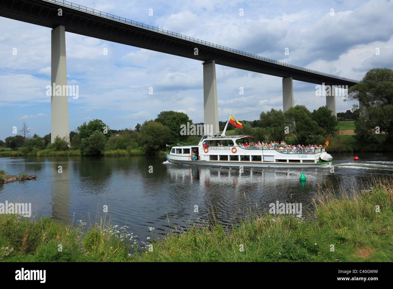 Iexcursion boat, white fleet, Mintarder Ruhr valley bridge, bridge, Mulheim on Ruhr, Ruhr area, North Rhine-Westphalia, - Stock Image
