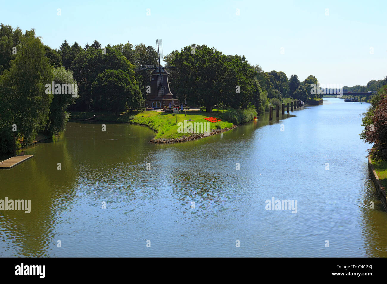 Holtingmuhle, mill, hare's mouth, Dortmund Ems canal, Meppen, Emsland, Lower Saxony, Germany, Europe, river, - Stock Image