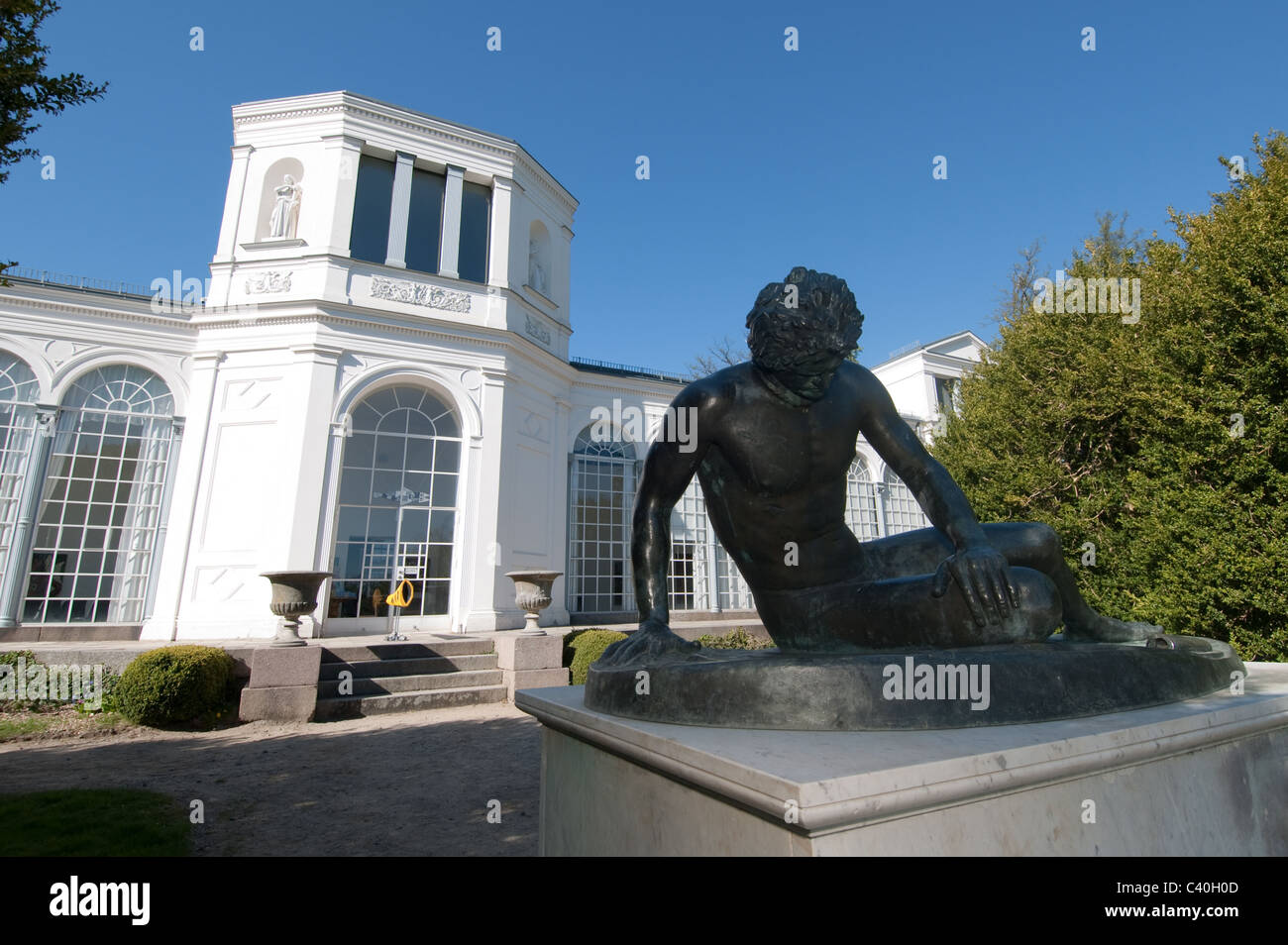 Sculpture of the Dying Gaul (replica) at the orangery in Putbus, Ruegen Island, Mecklenburg-Western Pomerania, Germany - Stock Image