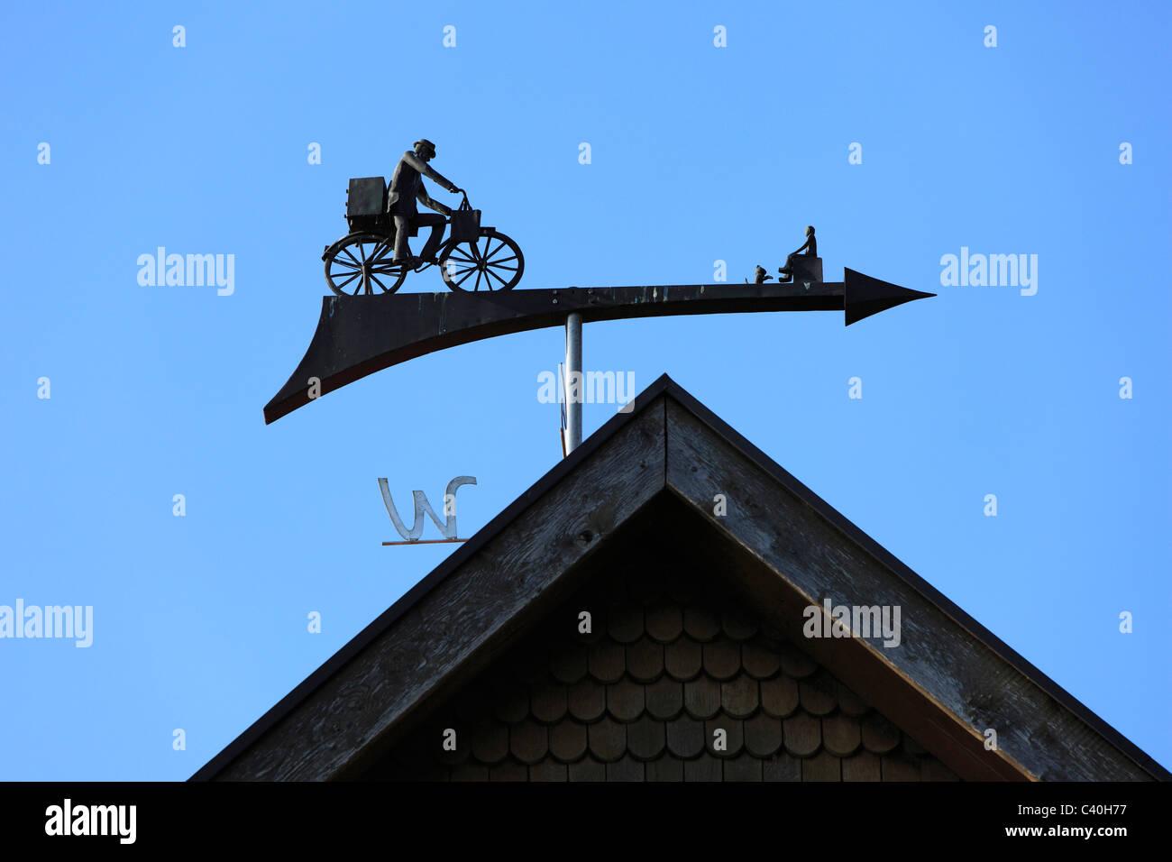 Wind direction, indicator, house roof, Essen, Oldenburg, Oldenburger Munsterland, Lower Saxony, Germany, Europe, - Stock Image
