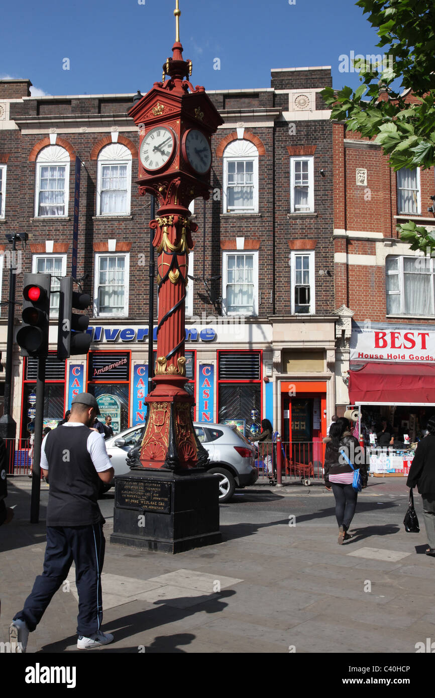 Harlesden, an area in London with one of the largest ethnic population particularly Afro-Caribbean. Jubilee clock - Stock Image