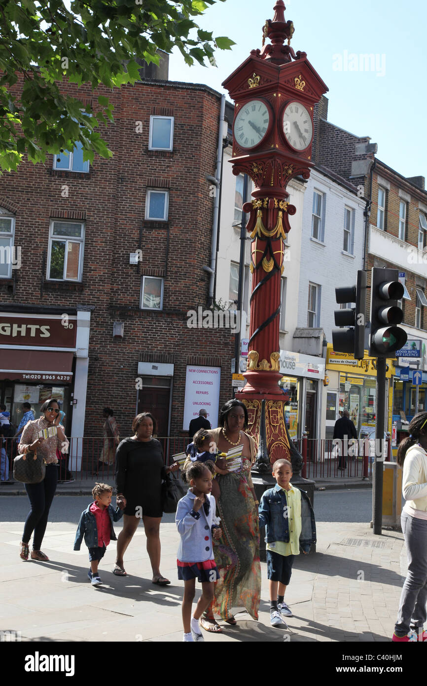 Harlesden, an area in London with one of the largest ethnic population, particularly Afro-Caribbean. Jubilee Clock - Stock Image