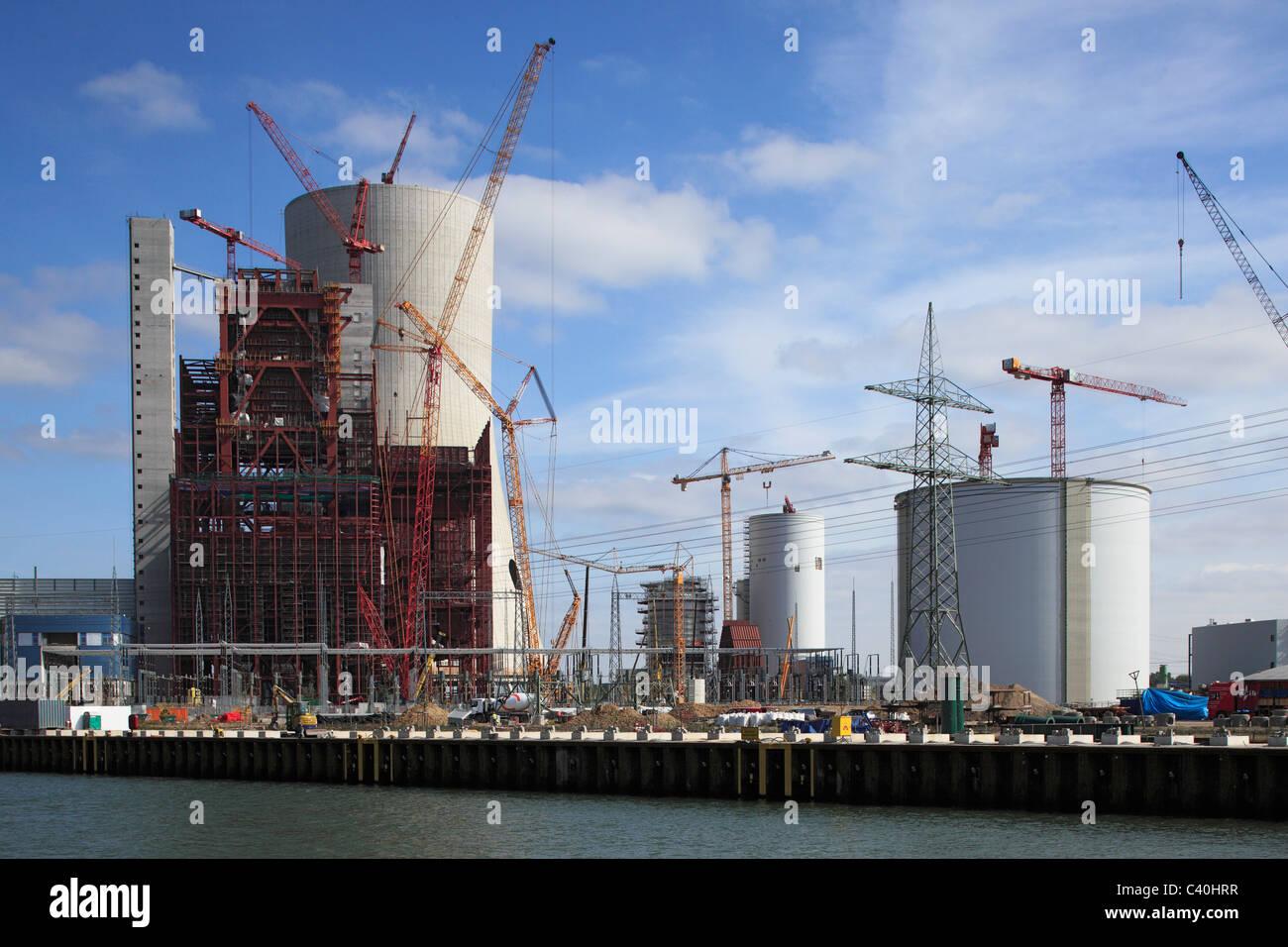 Building site, coal power station, Dortmund Ems canal, power station, E.ON, electricity, building freeze, demolition, - Stock Image