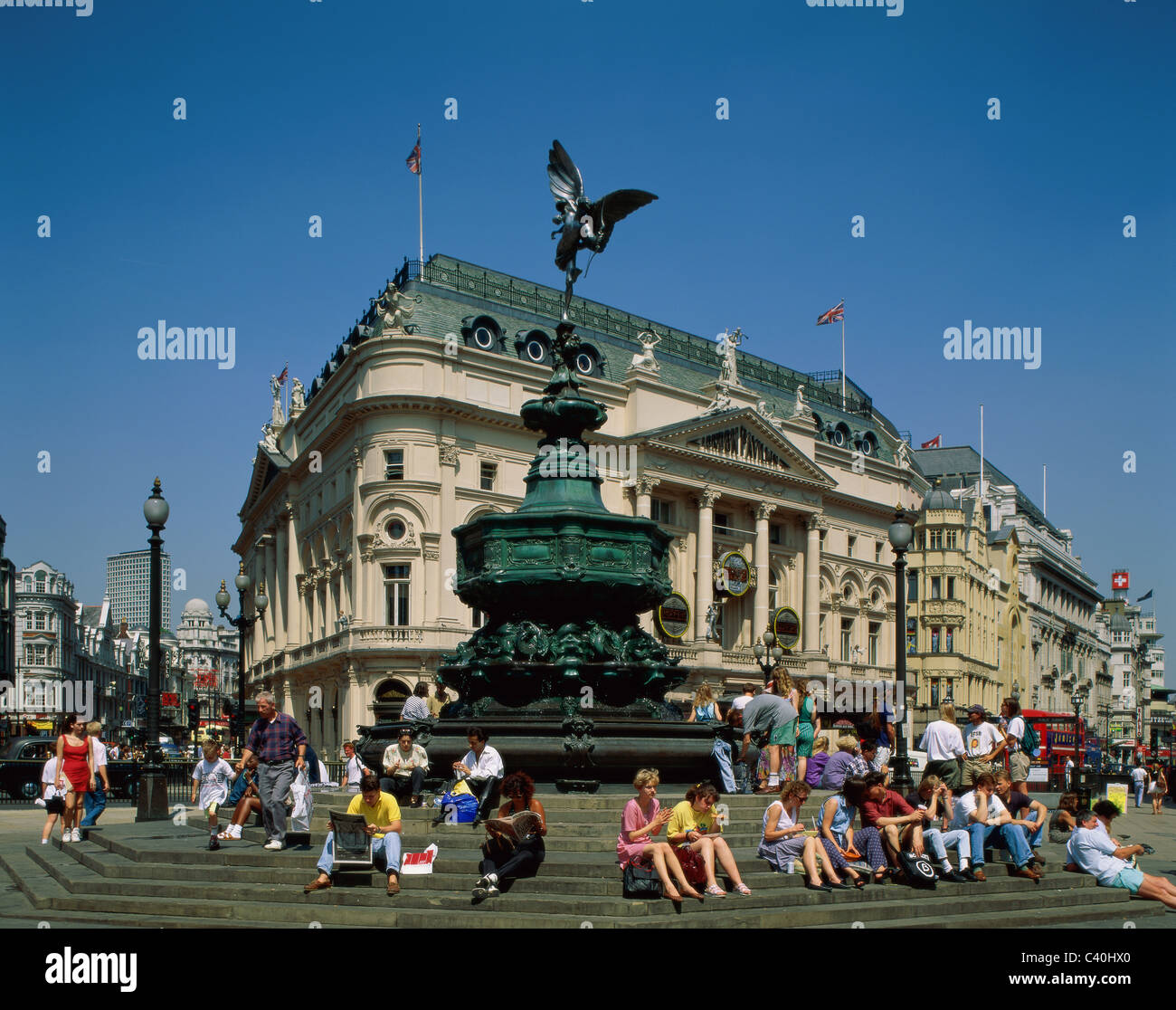 England, United Kingdom, Great Britain, Eros, Europe, Holiday, Landmark, London, People, Piccadilly circus, Statue, - Stock Image