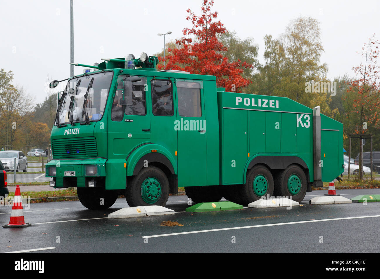 Police, water cannon, football, soccer, demonstrations, power, violence, excesses, riots, Germany - Stock Image