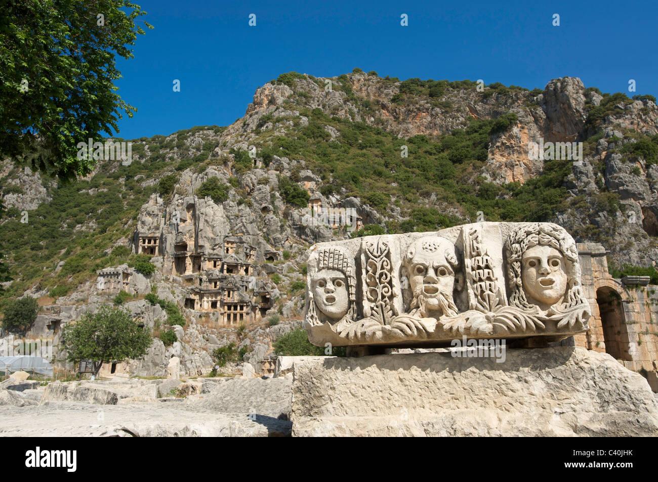 Turkish, Riviera, Lycia, cliff graves, theatrical masks, Myra, Lycia, south coast, Turkey, culture - Stock Image