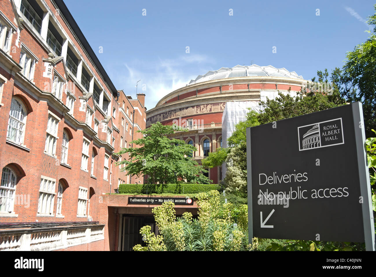 deliveries no public access sign at the rear of the royal albert hall, london, england - Stock Image