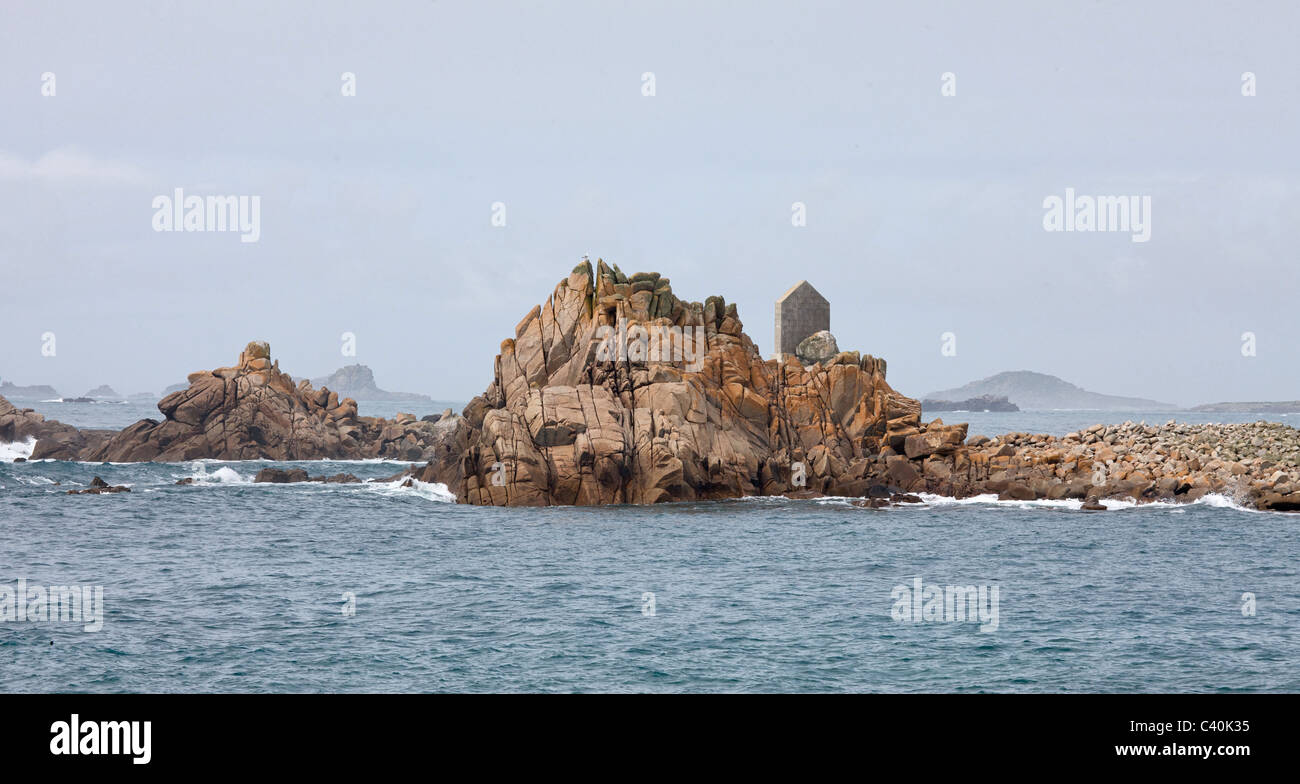 Burnt Island and Annet off the coast of St Agnes in the Isles of Scilly - Stock Image