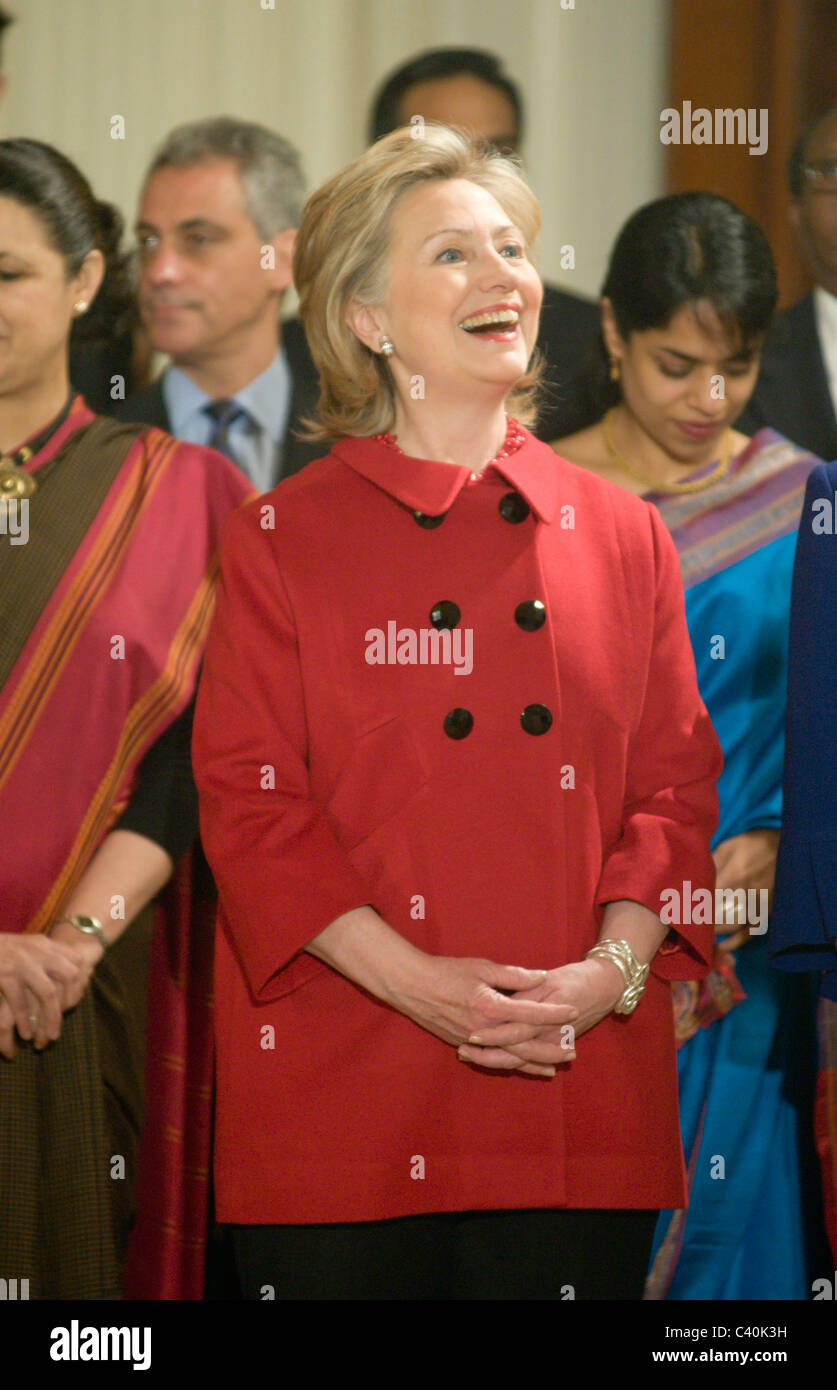 Hillary Clinton, U.S. secretary of state waits for U.S. President Barack Obama and First Lady Michele Obama to welcome Stock Photo