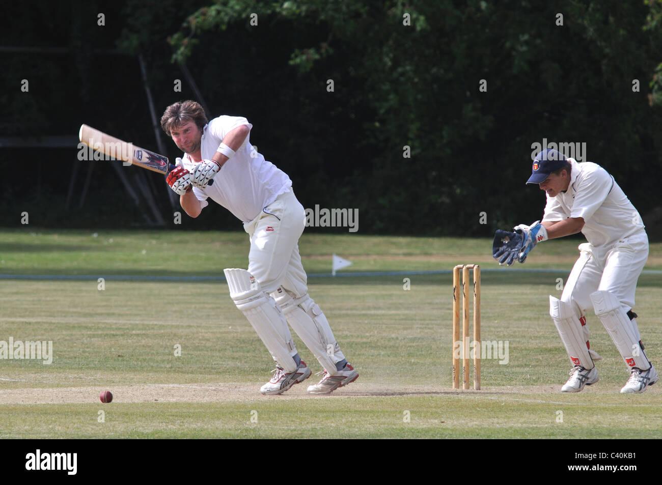 Village cricket at Norton Lindsey, Warwickshire, England, UK - Stock Image