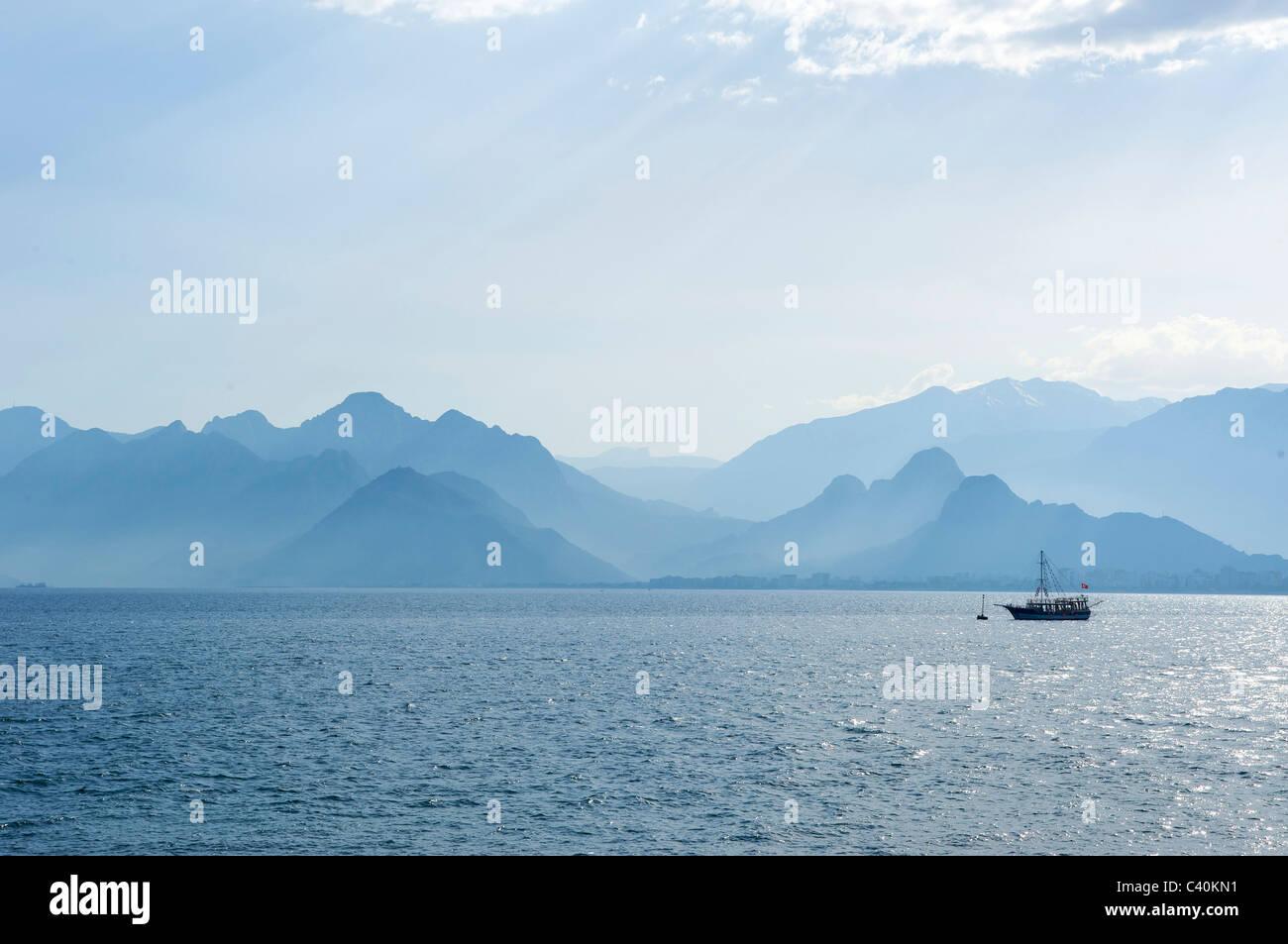 Turkish, Riviera, look, glance, bay, Bey Daglari, Beydaglan mountains, Antalya, Turkish Riviera, Turkey, sea - Stock Image