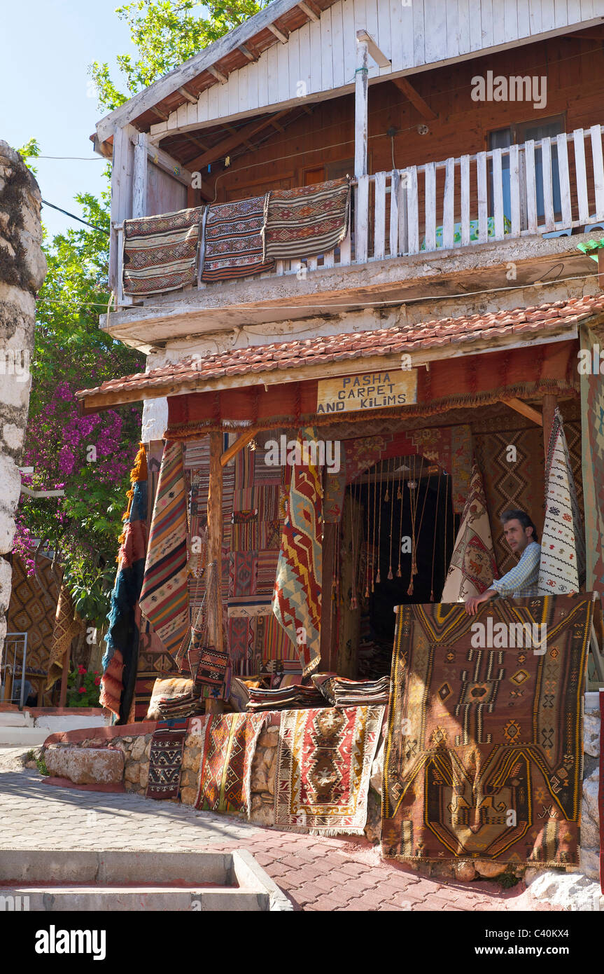 Turkish, Riviera, carpet dealer, Uecagiz, Lycia, south coast, Turkey, carpets, wall hangings, - Stock Image