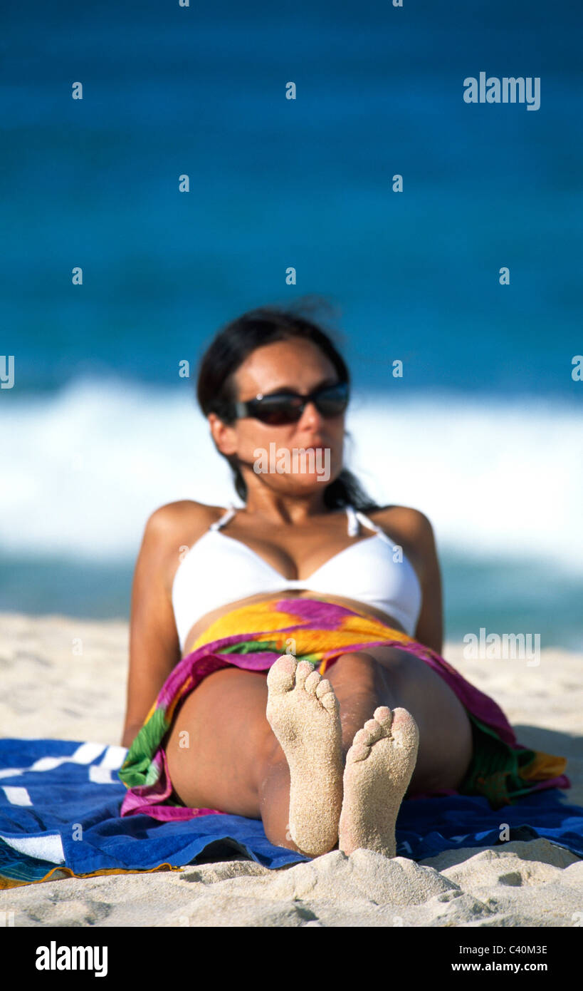 model released, beach, seashore, Corralejo, Fuerteventura, Canary islands, isles, Spain, woman, . Sand - Stock Image