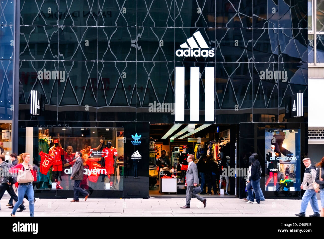 Adidas store in Frankfurt town center, Germany - Stock Image