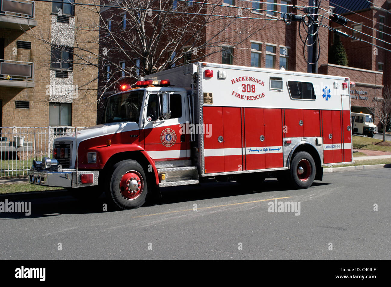 1995 Freightliner / Marion  Rescue 308 Hackensack Fire Department - Stock Image