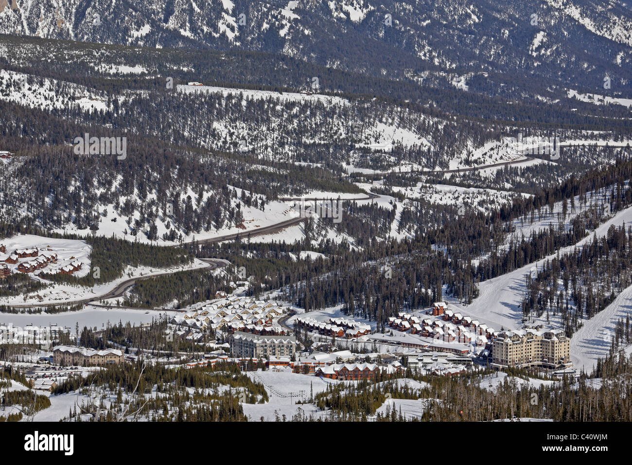 Base facilities at Big Sky Montana, one of the largest ski resorts in North America. Big Sky Montana, Montana, United - Stock Image