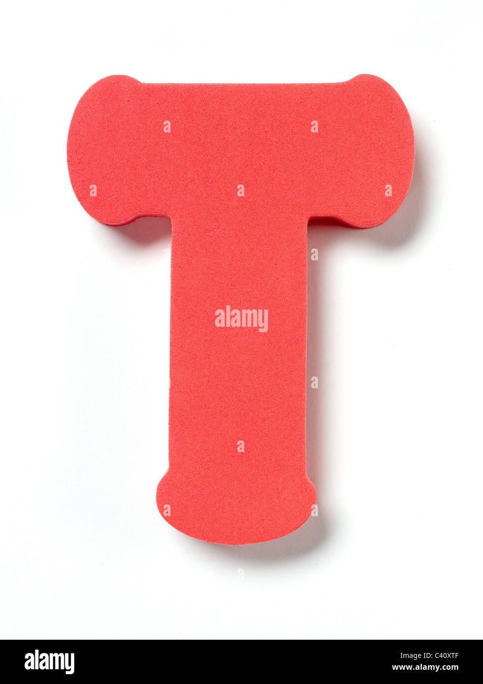 Foam letter T - Stock Image