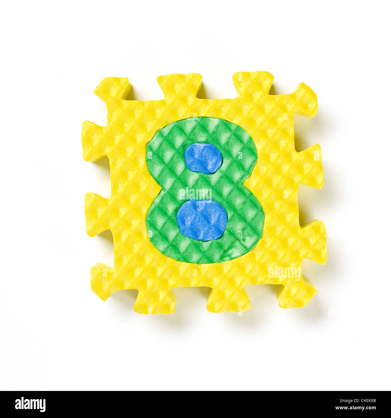 Puzzle piece number eight 8 - Stock Image