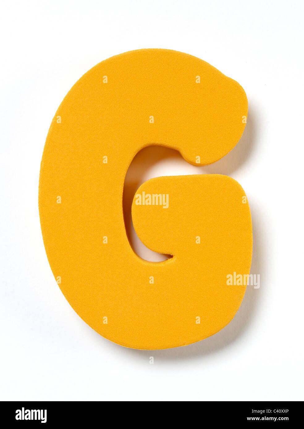 Foam letter G - Stock Image