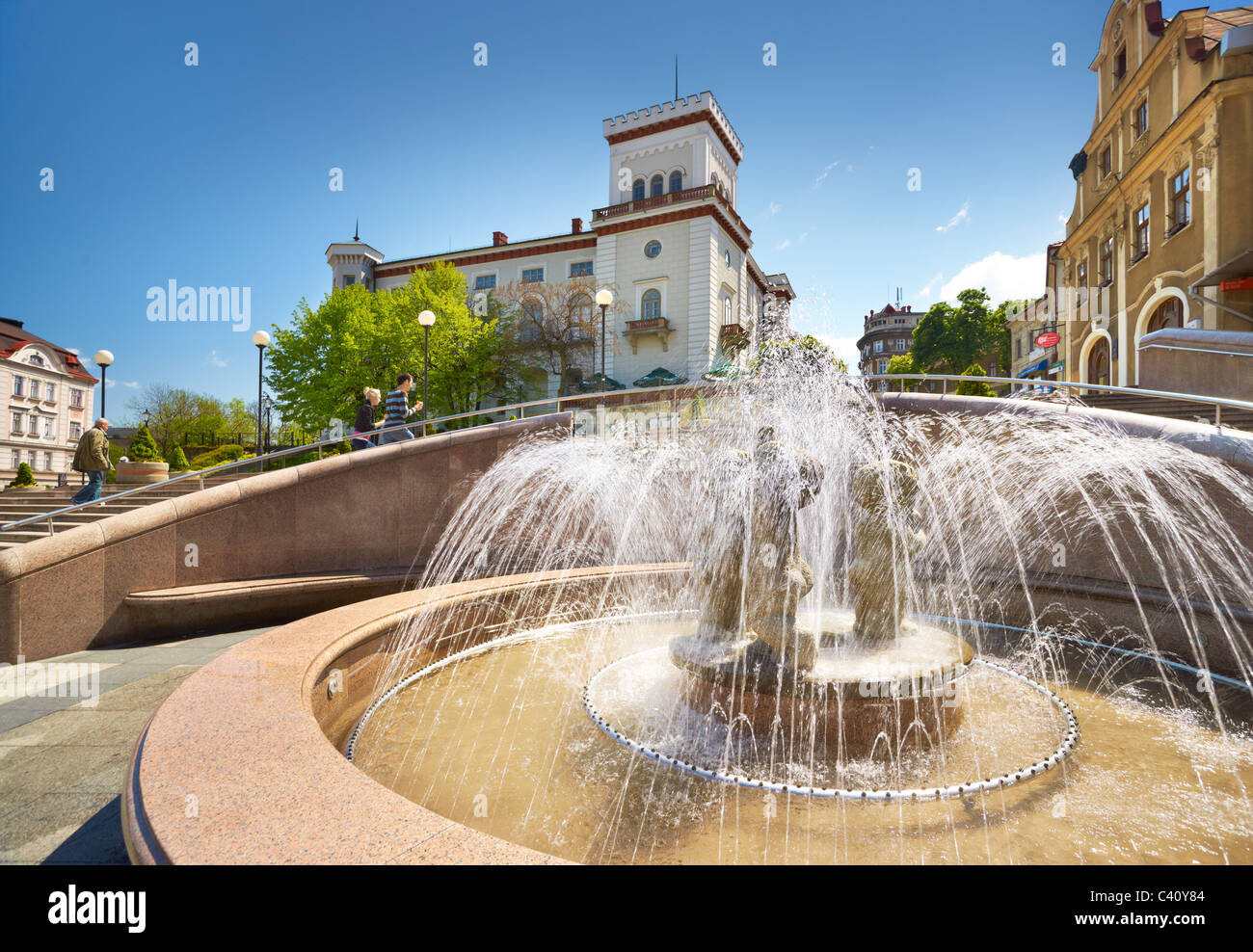 Bielsko-Biala, fountain at the Old Town Square, Poland - Stock Image