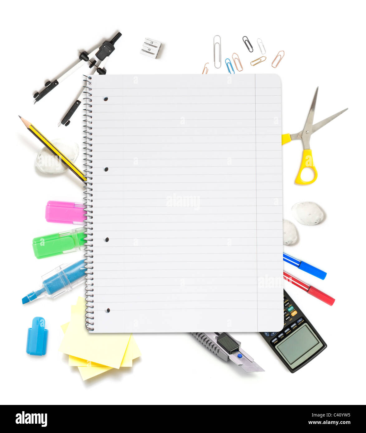 Notepad with lots of office objects - Stock Image