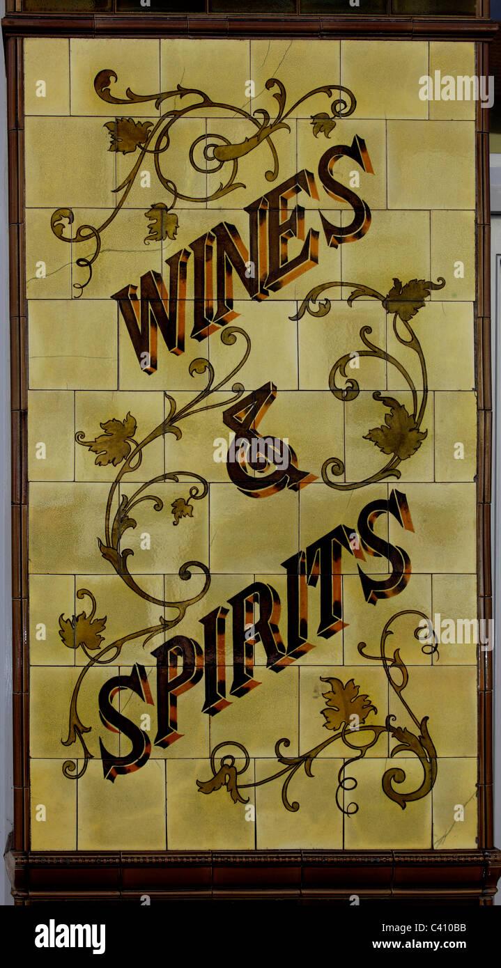 3382. Old Pub wall tiles, Folkestone, Kent, UK - Stock Image