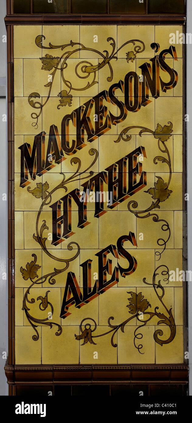 3385. Old Pub wall tiles, Folkestone, Kent, UK - Stock Image