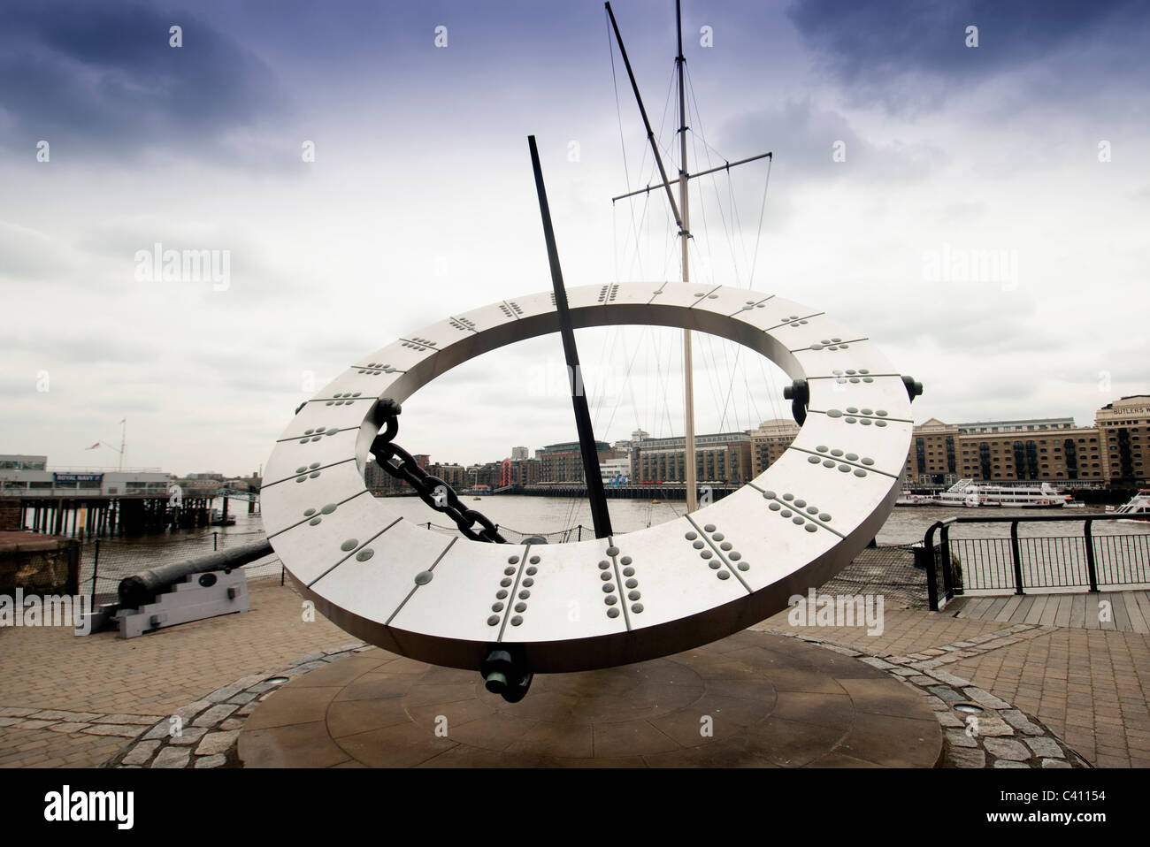 sun dial at st Katherines dock london - Stock Image