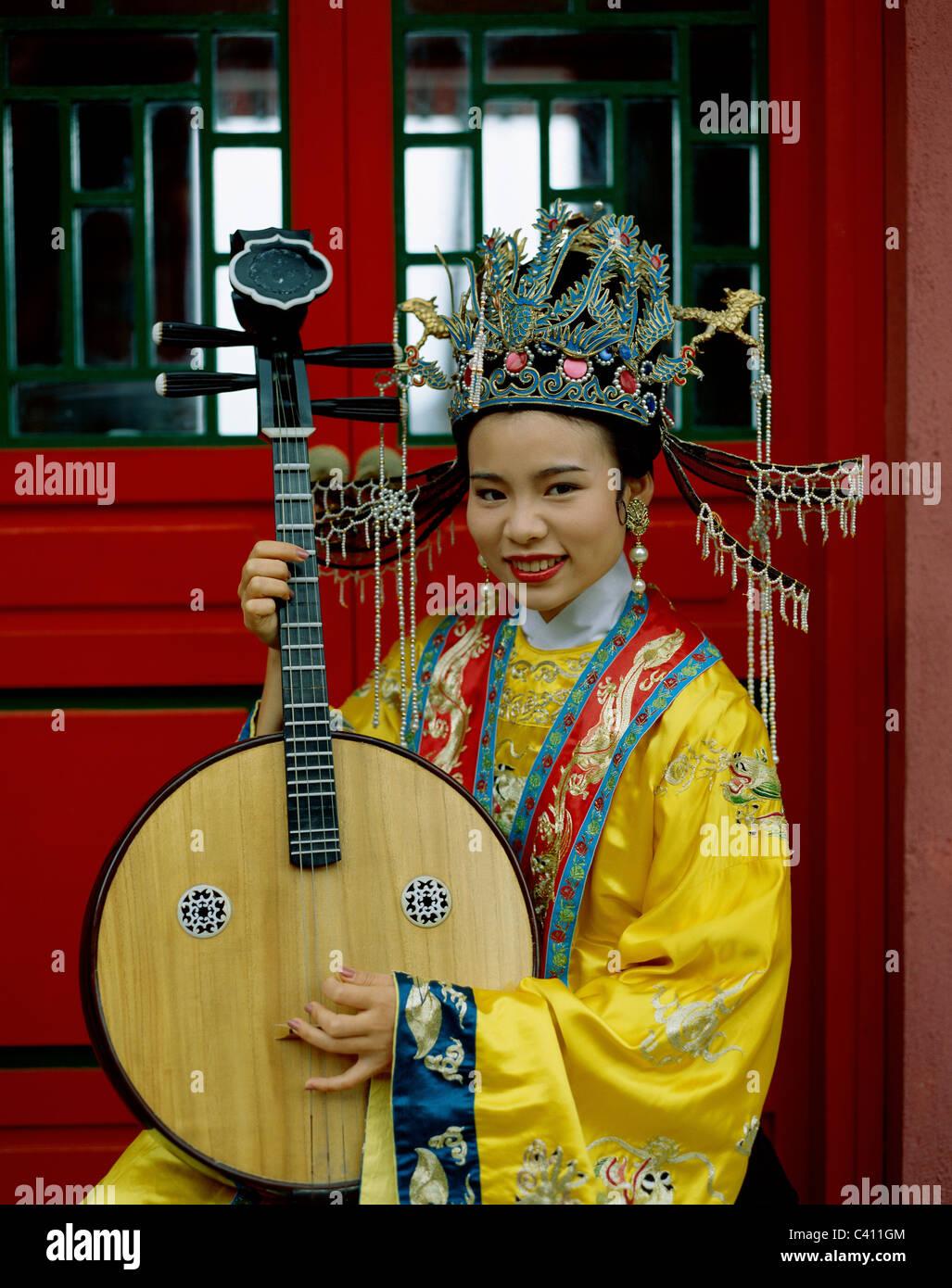 Asia, Beijing, Peking, China, Holiday, Instrument, Landmark, Lute, Model, Musical, Playing, Released, String, Three, - Stock Image