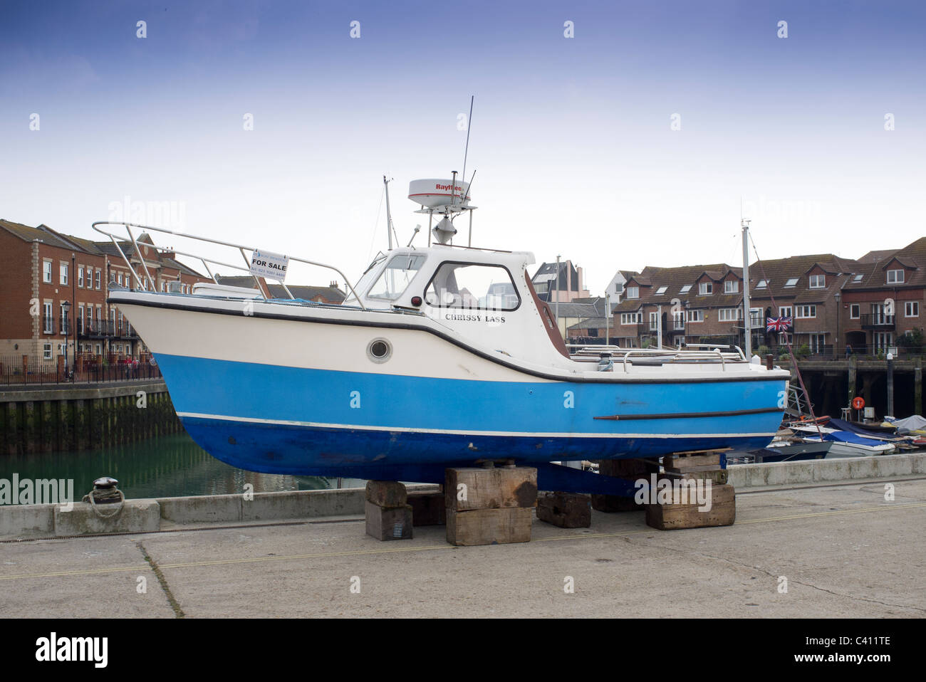 Fishing Boats For Sale >> Blue Fishing Boat For Sale Stock Photo 36902782 Alamy