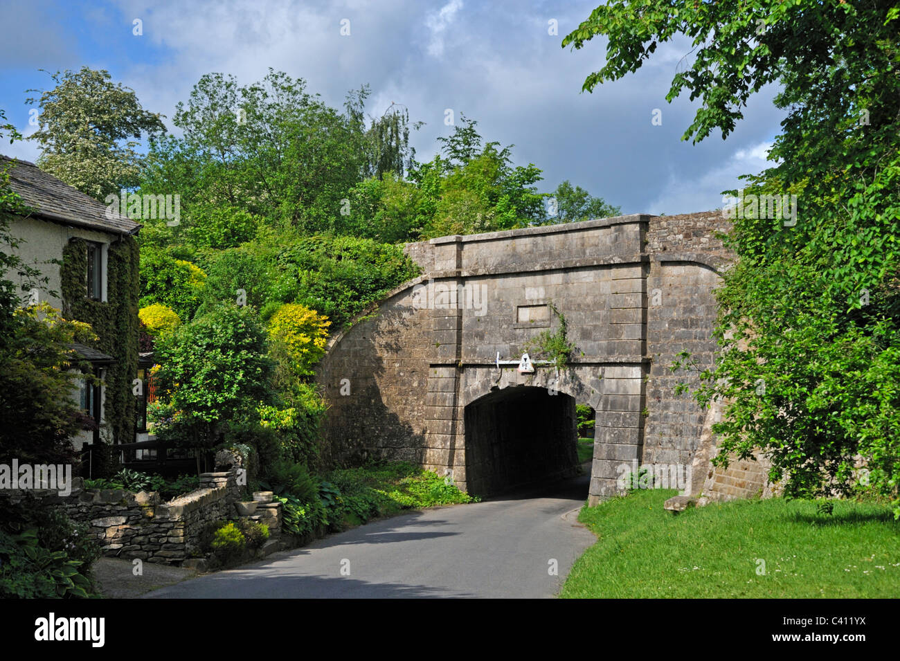 Skew aqueduct on the  Northern Reach of the Lancaster to Kendal canal. Sedgwick, Cumbria, England, United Kingdom, - Stock Image