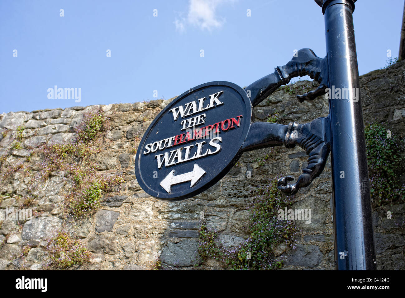 sign for walk the Southampton walls - Stock Image
