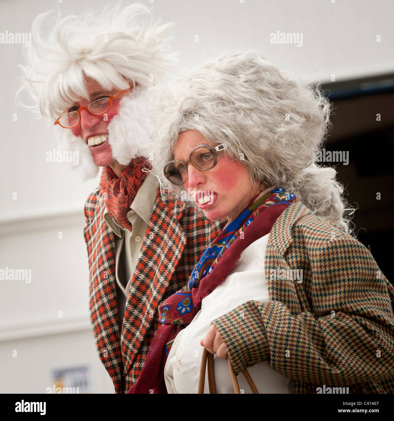 Street entertainers 'lord and lady Flangeworthy-Smythe' aristocratic caricature characters on the promenade - Stock Image