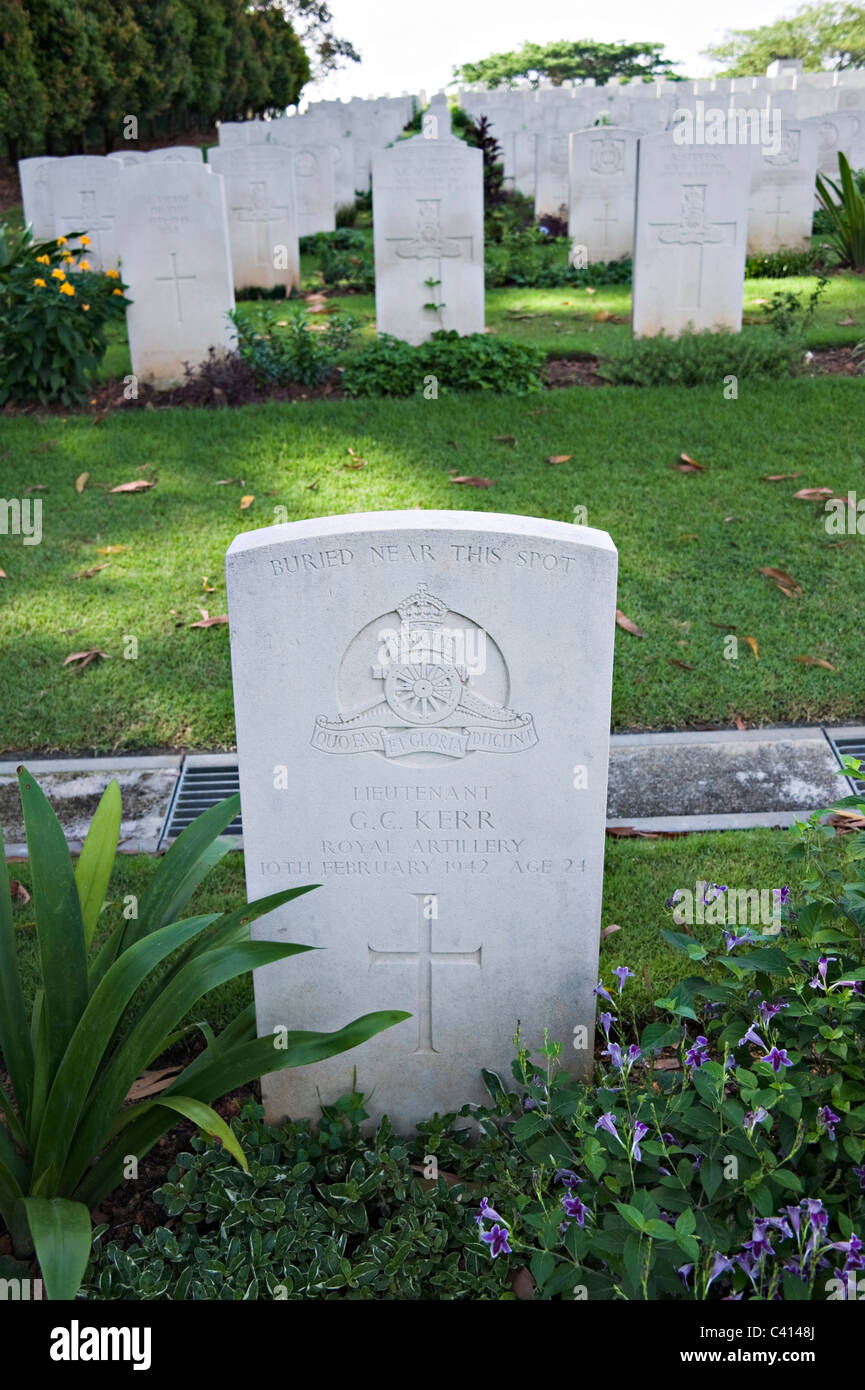 Headstones and Graves of Service Personnel Killed in Action in Kranji War Cemetery During World War II Singapore Stock Photo