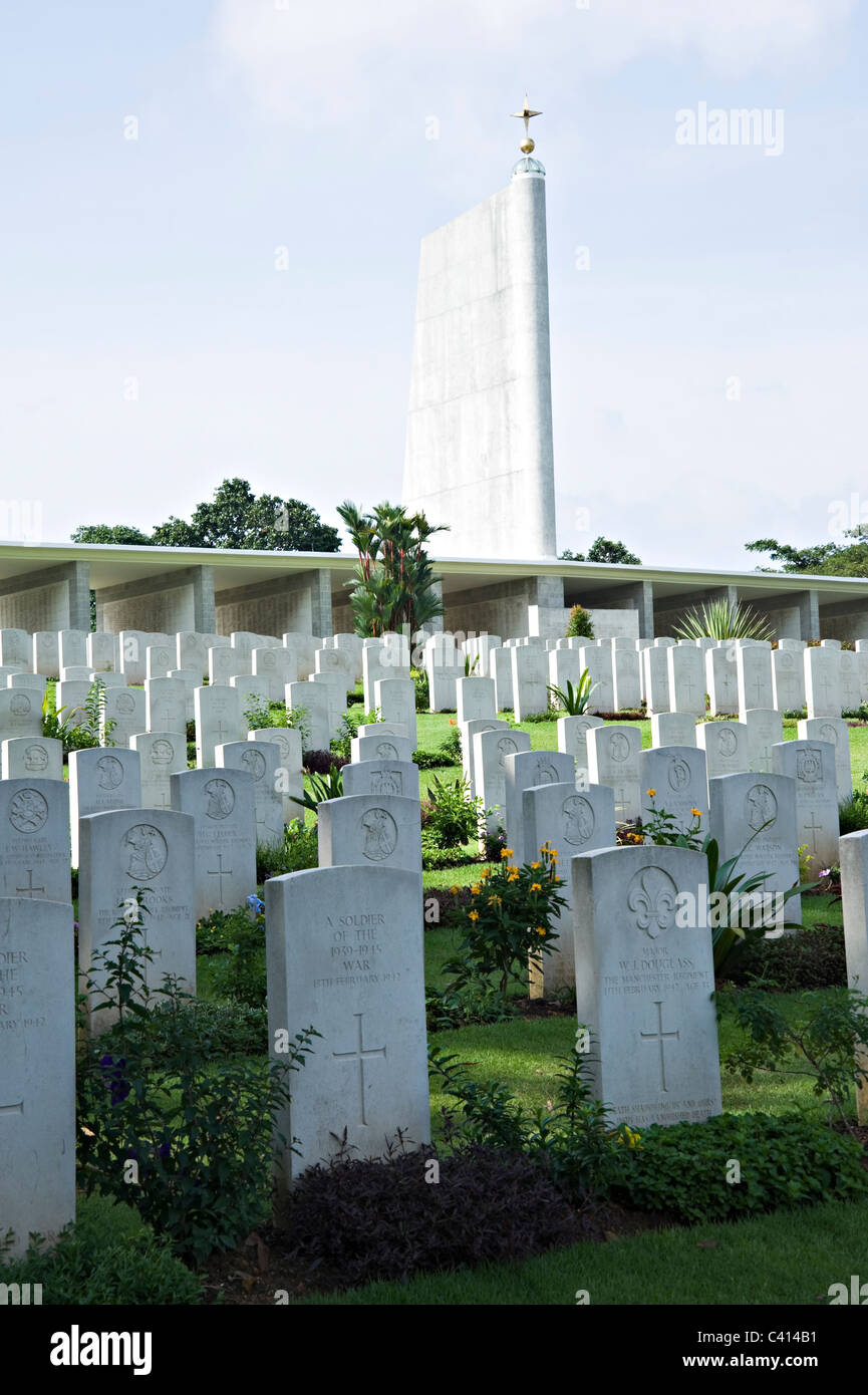 Singapore Memorial at Kranji War Cemetery in Recognition of Service Personnel Killed in Battle of Singapore Asia Stock Photo