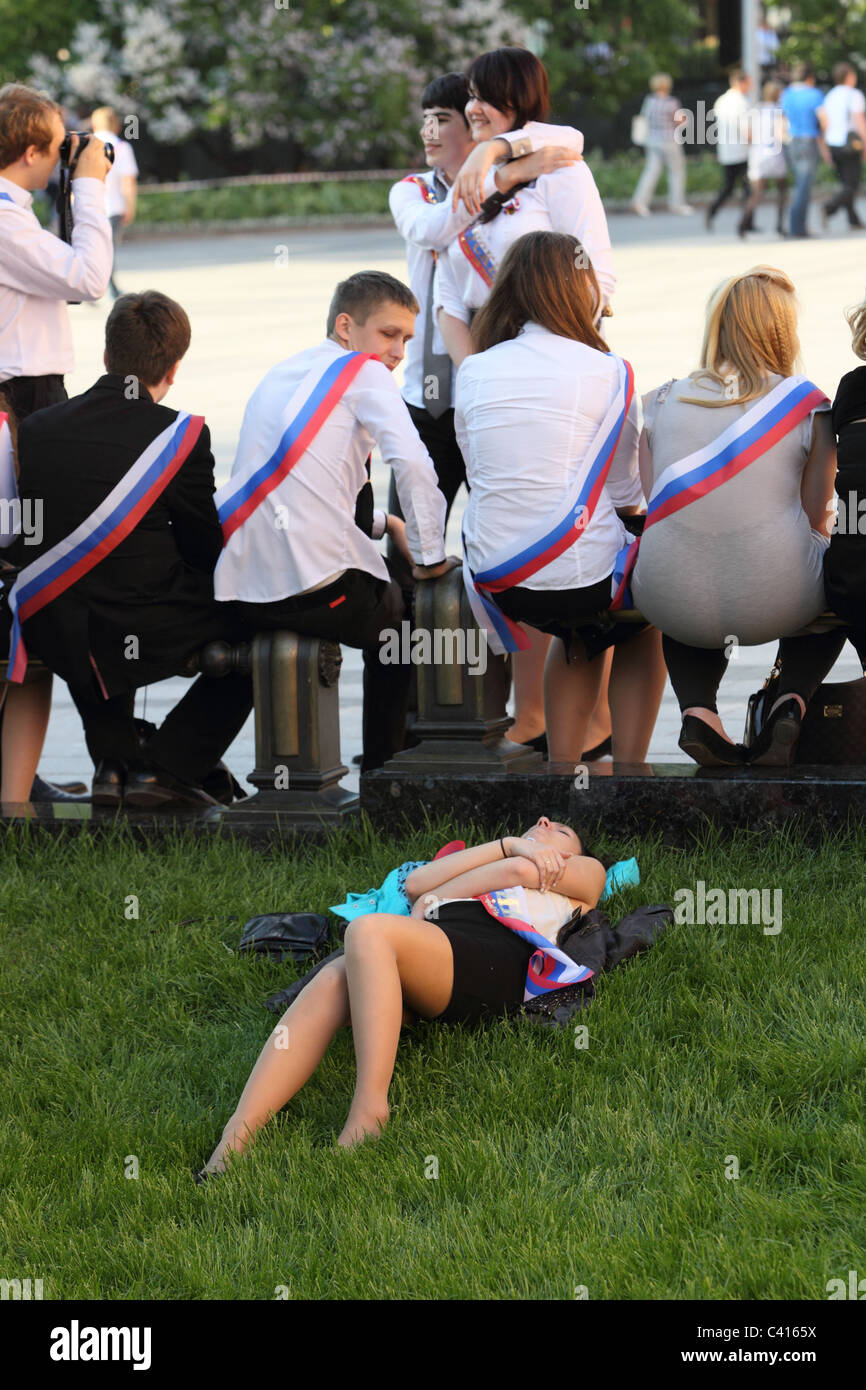 Students across Russia celebrated the end of the academic year, traditionally called the 'last bell'. Moscow. - Stock Image
