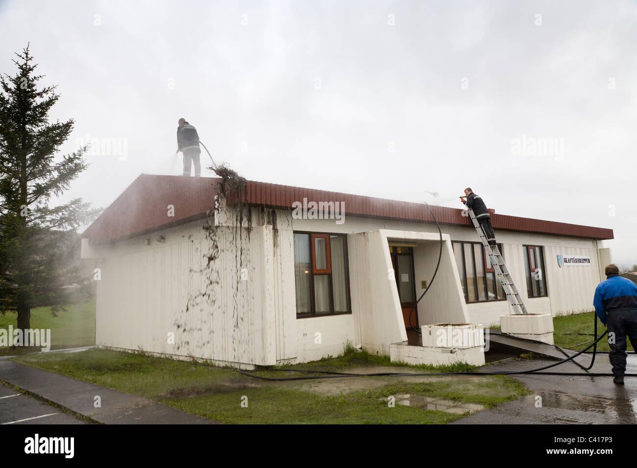 Iceland, Kirkjubaejarklaustur, 25.May 2011: The aftermath of the volcanic eruption in Grimsvotn, Vatnajokull glacier, - Stock Image