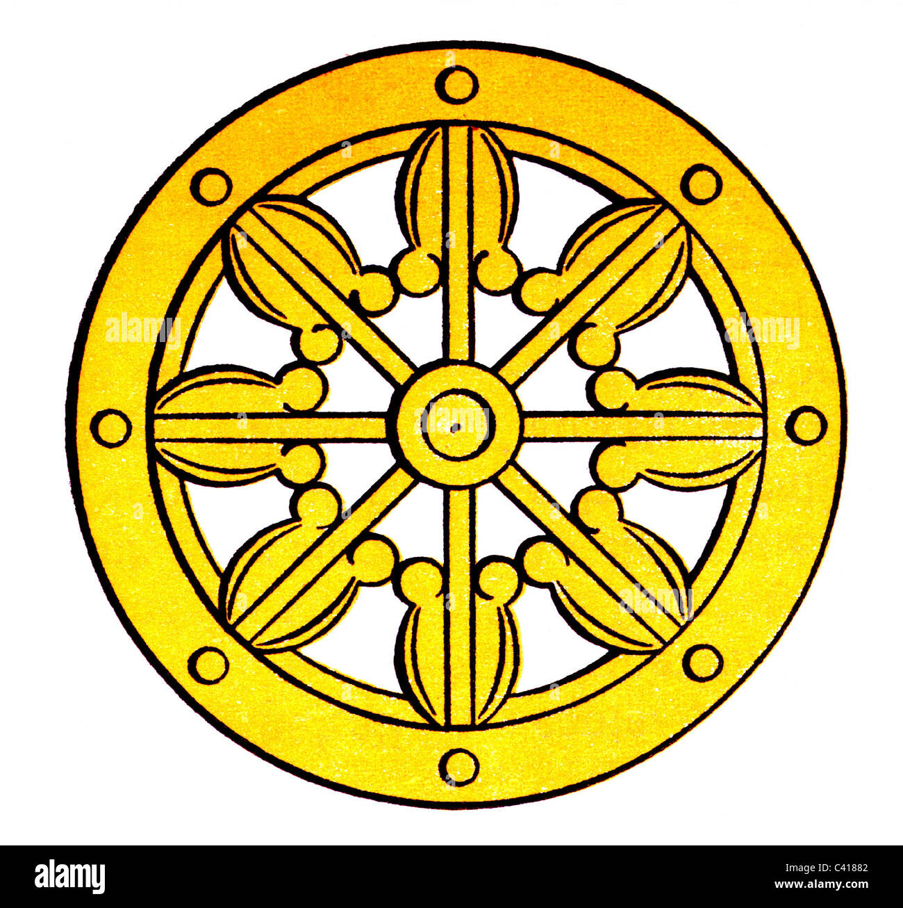 Religion Buddhism Wheel Of Law Dharmacakra Symbolizing The Path