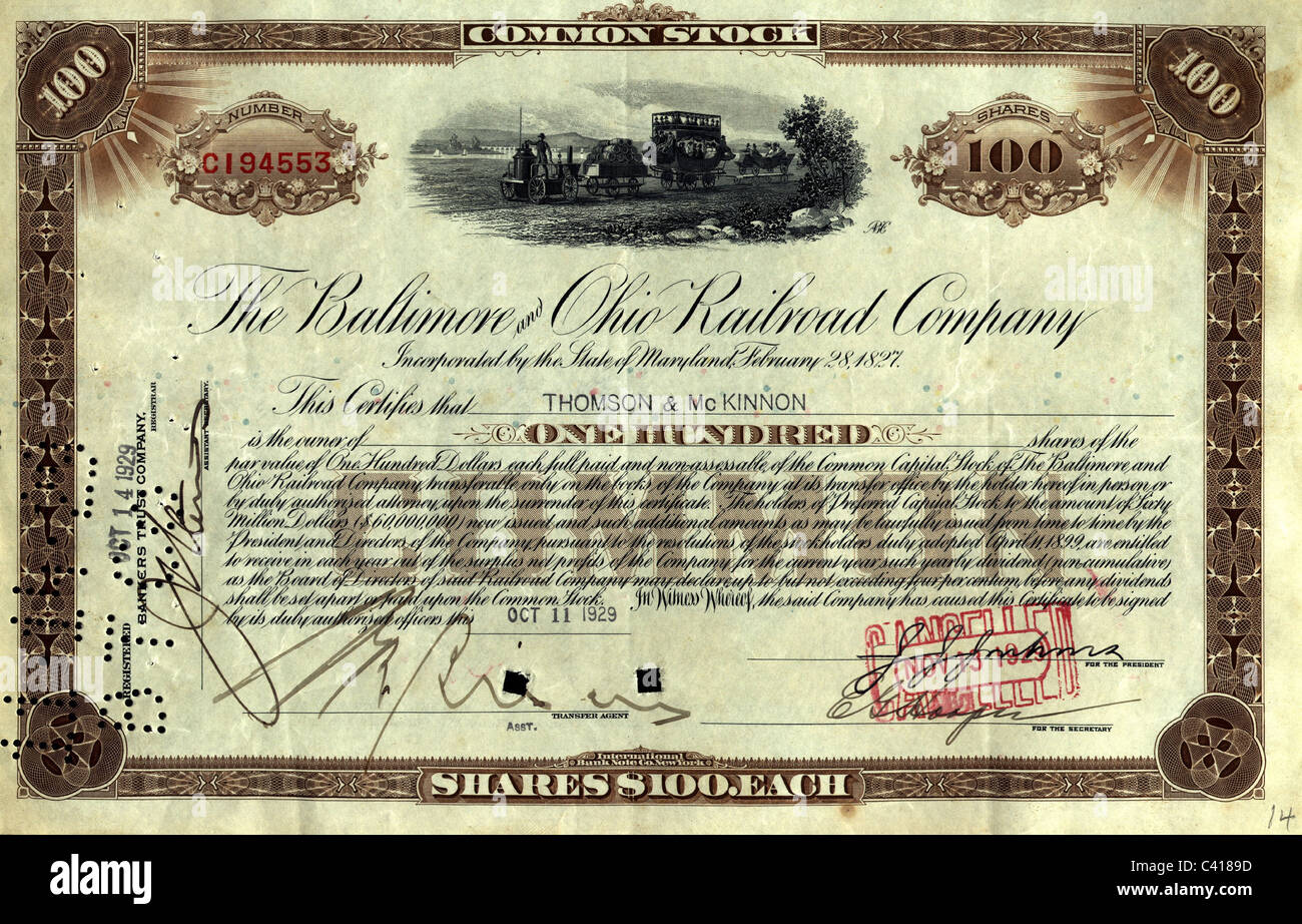 money / finance, stocks, 100 shares of Baltimore and Ohio Railway Company, dealt on 11.10.1929, Additional-Rights - Stock Image