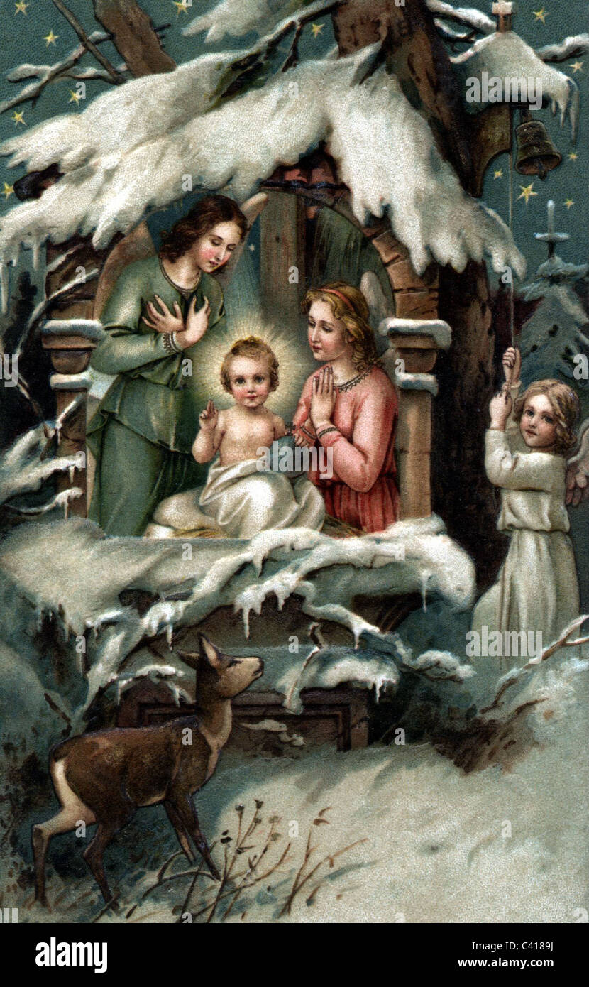 religion, kitschy illustration of the birth of Jesus Christ, coloured postcard, kitsch, angel, angels, snow, deer, - Stock Image