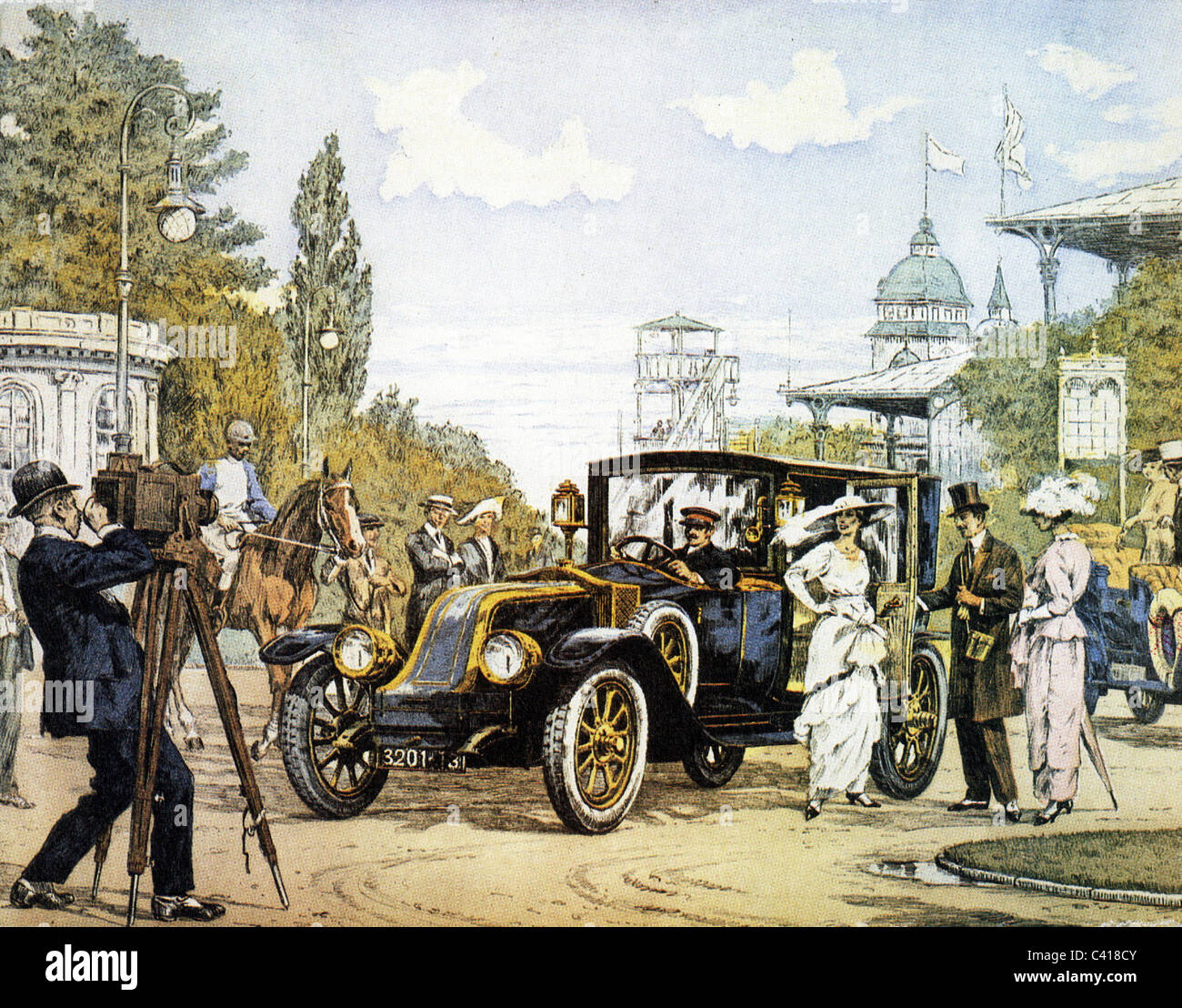 photography, photographing, photographer taking picture in front of the racing circuit at Berlin Karlshorst, painting - Stock Image