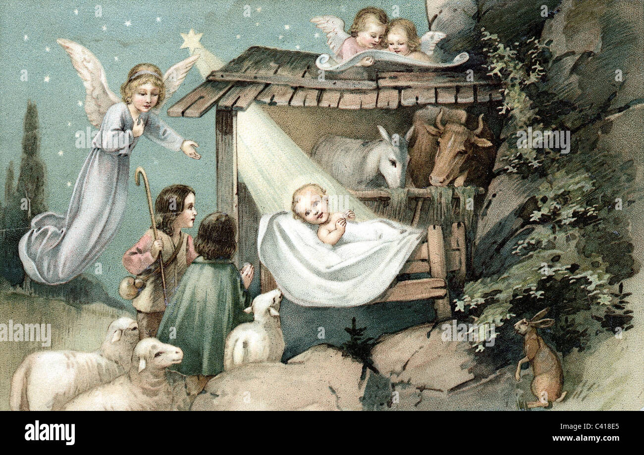 Kitsch Postcards Christmas Baby Jesus In The Cradle Stock
