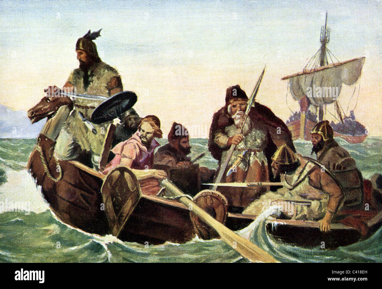Middle Ages, Vikings, dinghy, after painting by O. Wergeland, 19th century, historic, historical, dinghies, medieval - Stock Image