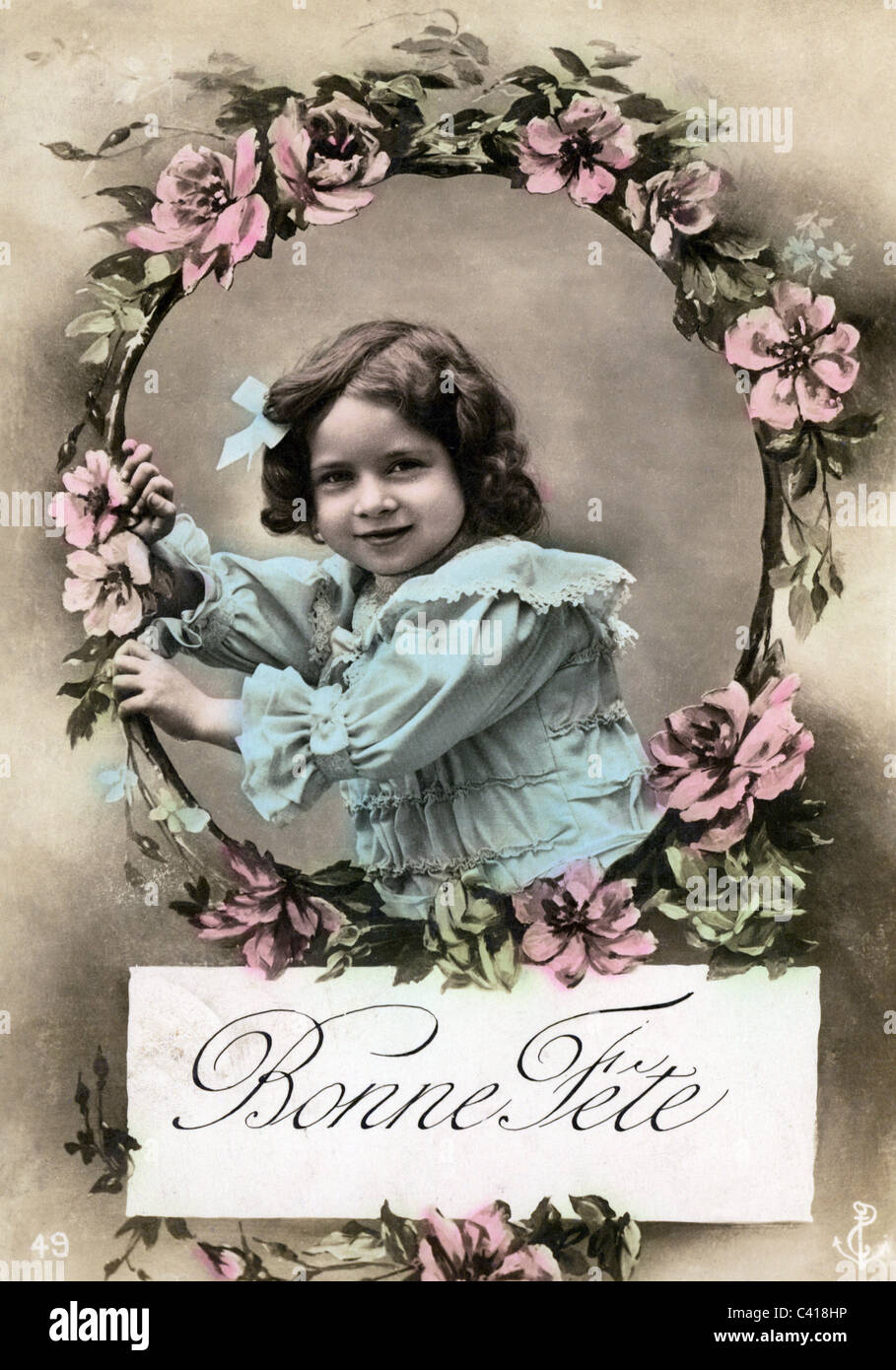 Kitsch greetings card bonne fete happy name day postcard kitsch greetings card bonne fete happy name day postcard coloured girl with flower wreath france circa 1900 girl gi m4hsunfo