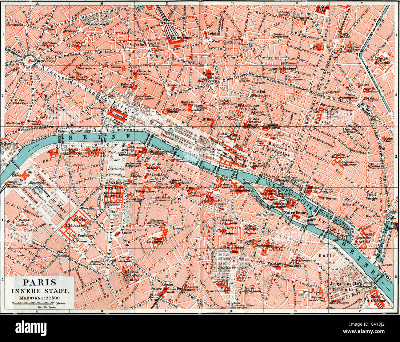 cartography city maps Paris France inner city colour lithograph