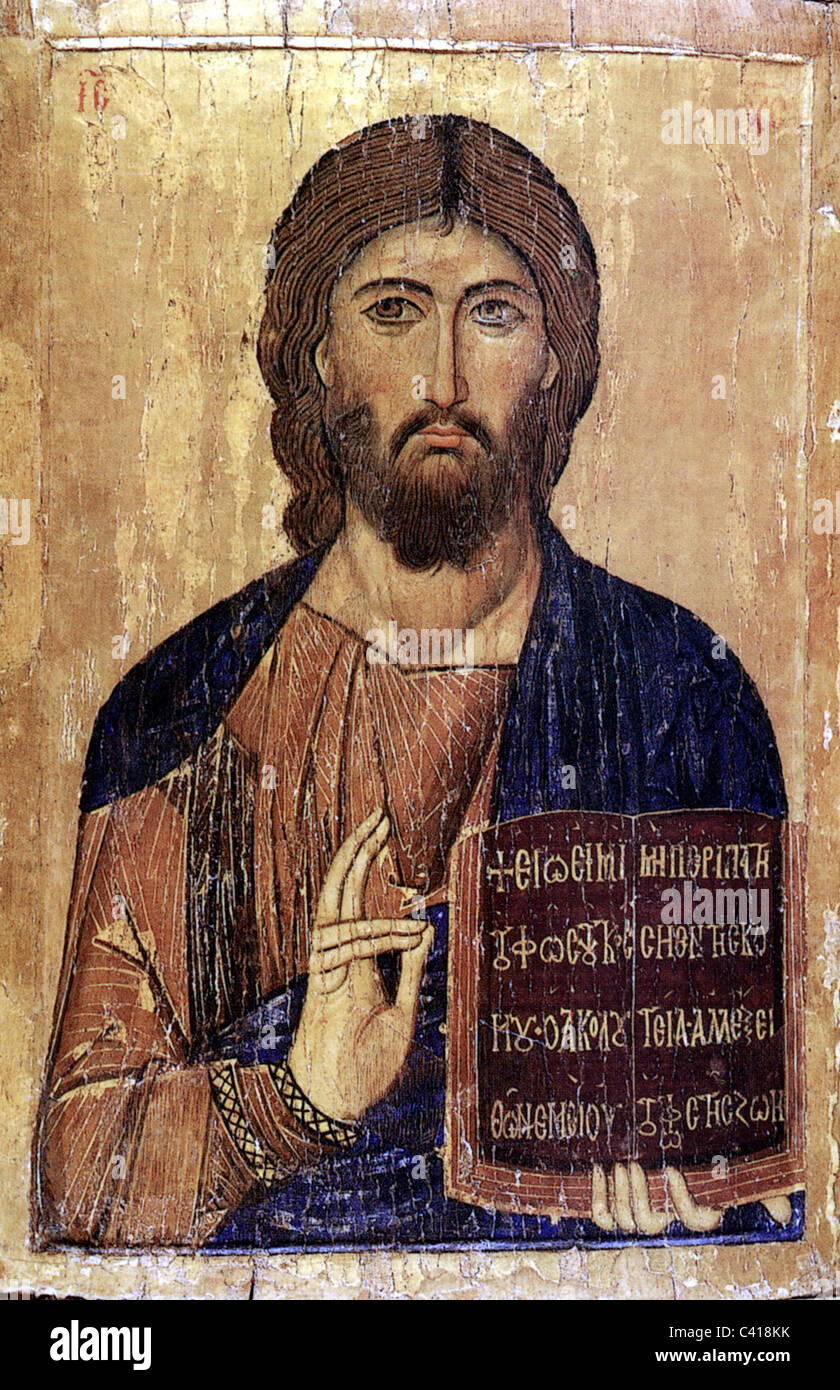 religion, Jesus Christ holding the Bible and blessing with other hand, Christianity, bless, full beard, icon, orthodox, - Stock Image