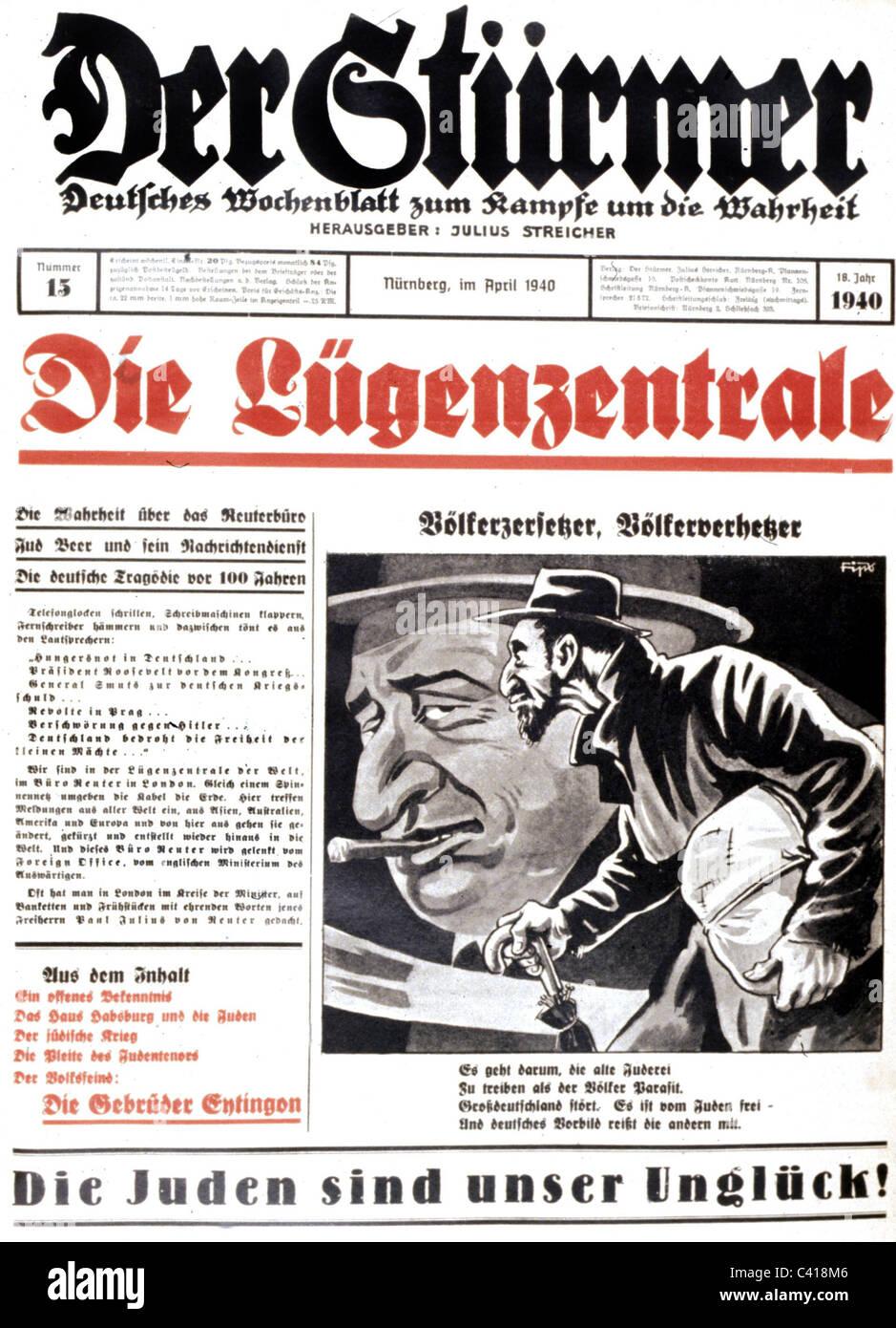 National Socialism / Nazism, anti-Semitic propaganda, press, 'Der Stuermer', No. 13, April 1940, front page, - Stock Image