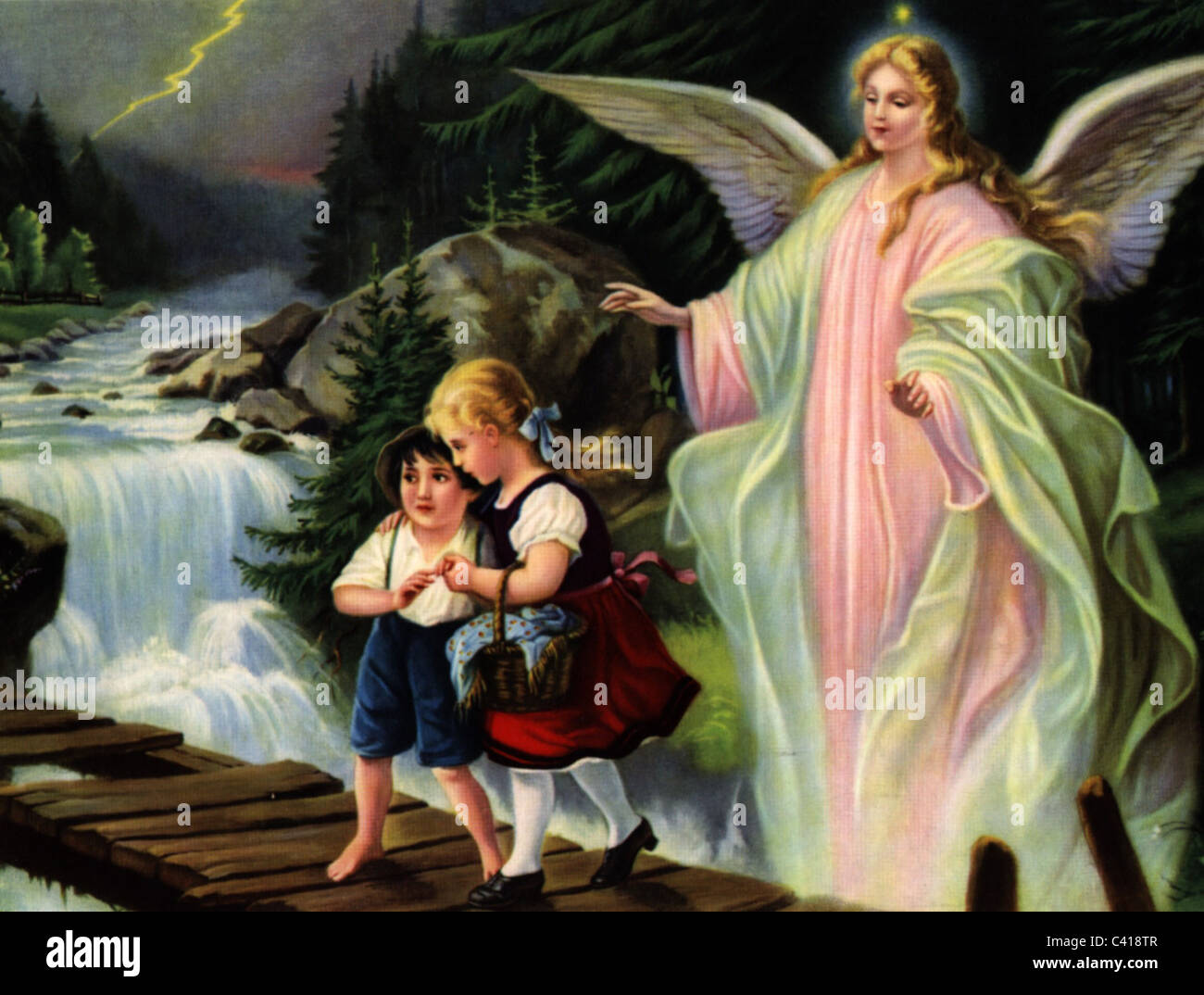 Religion Angel Guardian Angel Colour Print 19th Century Kitsch
