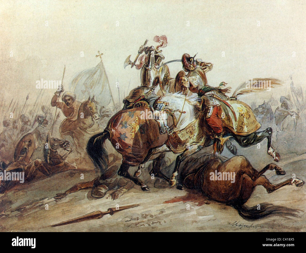 Middle ages, knights, crusaders, fighting with Saracen, painting by Majocchi, 1st half of the 19th century, historic, - Stock Image